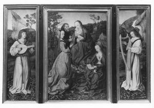 Luitspelende engel (links), Heilige Familie met de HH. Catharina en Barbara (midden), harpspelende engel (rechts)