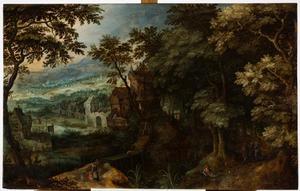 Landschap met een kasteel, rechts onder de Emmaügangers