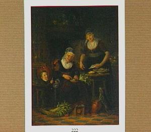 Keukeninterieur met twee vrouwen in klederdracht