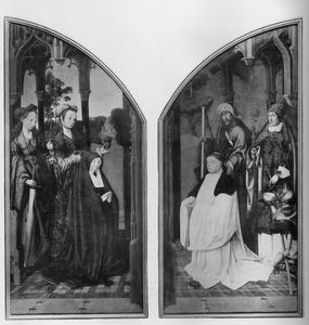 De HH. Cecilia en Maria Magdalena met stichtster (links); de HH. Jacobus de Meerdere en Martinus van Tours met een augustijner monnik (rechts)