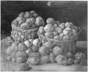 Stilleven met twee manden met aardappels