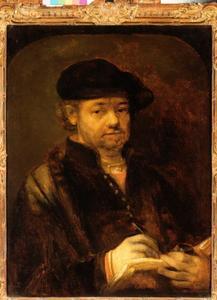 Zelfportret met pen, inktpot en schetsboek
