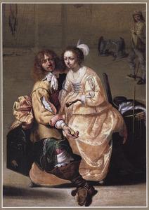 Soldaat met een courtisane in een wachtlokaal