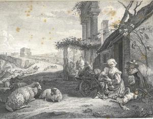 Italiaans landschap met een gezelschap bij een herberg en ruiters met vee op de achtergrond