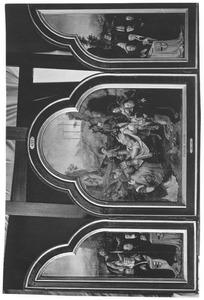 Drieluik met de graflegging en Philips van Hogesteyn, commandeur van het Sint Jansklooster te Haarlem (midden). Op de luiken leden van zijn familie en de H. Johannes de Doper (links) en een niet geïdentificeerde heilige (rechts). Op de buitenzijde de familiewapens Van Hogesteyn (links) en Van Arkel (rechts)