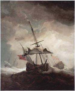 Drie Engelse driemasters in een storm op volle zee