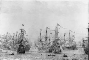 Gevecht tussen de retourvloot van Pieter de Bitter en een Engels eskader in de haven van Bergen in Noorwegen, 12 augustus 1665