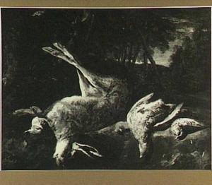 Stilleven van een dode haas en gevogelte in een boslandschap