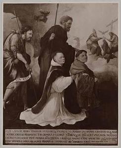 De HH. Johannes de Doper en Thomas (Matteüs of Mattias?), met Herman en Werner van Lockhorst en in de achtergrond de kroning van Maria