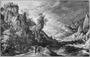 Berglandschap met Tobias en de engel onderweg naar Ekbatana (Tobias 4-6)