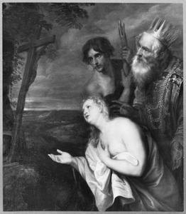 De drie boetvaardige zondaars de crucifix aanbiddend