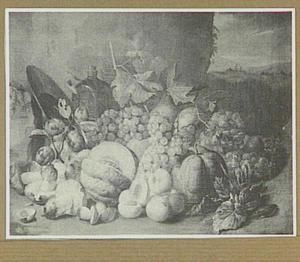 Stilleven van vruchten; rechts een doorkijk naar een landschap