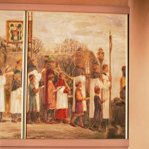 Processie met de relikwieën van Sint Walfridus / De priester en zijn gevolg