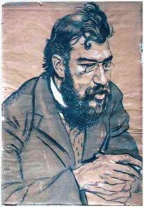 Portret van een man met baard en snor, de handen ineen gevouwen