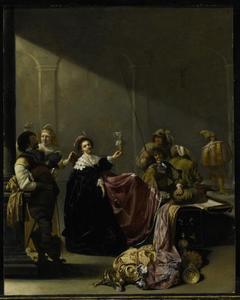 Soldaten en jonge vrouwen die de buit bekijken in een interieur