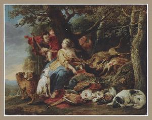 Diana en haar nimfen bij een uitstalling van achtbuit