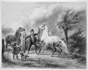 Man en kind met paarden in een landschap