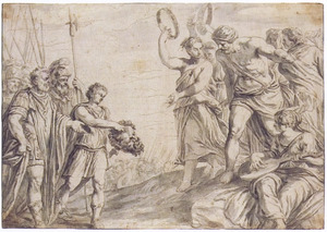 De triomf van David met het afgehouwen hoofd van Goliat  (1 Samuel 18:6-7)