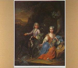 Dubbelportret van een jongen en een meisje in een rotsachtig landschap