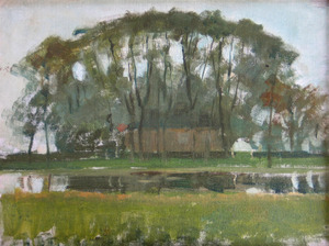 Farmhouse along the water shielded by arch of trees I
