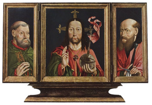 De H. Petrus (links), Christus als Salvator Mundi (midden), de H. Paulus (rechts)