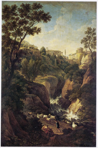Zuidelijk landschap met gezicht op de waterval en tempel bij Tivoli