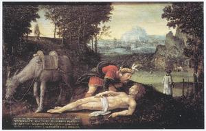 Landschap met de Barmhartige Samaritaan, die de gewonde reiziger verzorgt (Lucas 10:25-37)