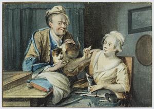 Man en vrouw met een kat en een hond in een interieur