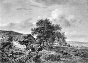 Landschap met twee ruiters in galop