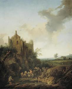 Landschap met een kasteelruïne nabij een doorwaadbare plek in een beek