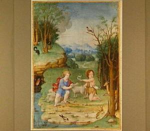 Christus en Johannes de Doper als kinderen in een landschap