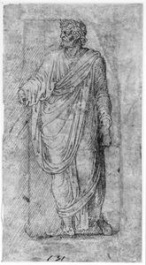 Staande Romein in toga met lauwerkrans