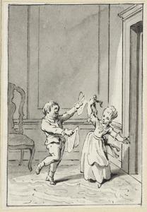 Illustratie voor 'Pietje en Keetje' in de Kleine gedichten voor kinderen door H. van Alphen