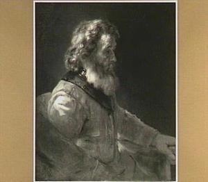 Halffiguur van een baardige oude man, blootshoofds zittend naar rechts met halsberg