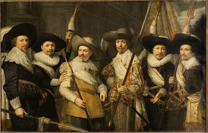 Portret van zes schutters van het Witte Vendel van de Sint-Sebastiaansdoelen, Den Haag, 1638