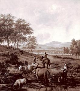 Herders en hun kudde bij een drenkplaats