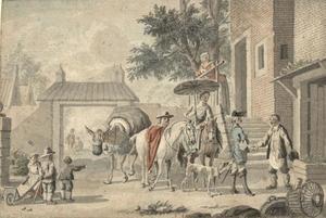 Reizigers te paard arriveren bij een een landelijk huis