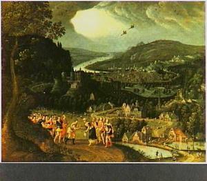 Landschap met de ontmoeting van Abram [Abraham] en Melchisedek (Genesis 14:18-20)