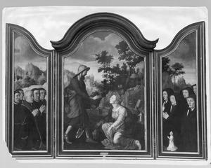 Drieluik met Hendrick Joostz. van der Stijpen van Duivelandt, burgemeester van Delft en zijn zonen (links), de verschijning van Christus aan Maria Magdalena (midden), Marritgen Dammas Simonsdr. van Overvest en haar dochters (rechts)