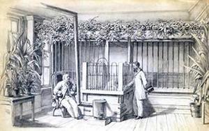 Interieur van het nijlpaardenhuis met twee heren