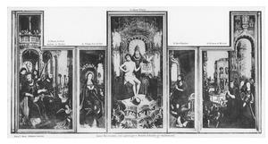 De H. Drieëenheid, Maria en de H. Johannes de Doper (midden), apostelen (links) en heiligen (rechts) (Retabel van Anchin)