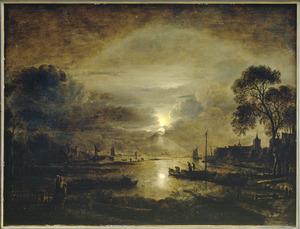 Maanverlicht rivierlandschap