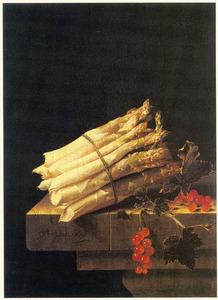 Stilleven met een bundel asperges en een takje met aalbessen