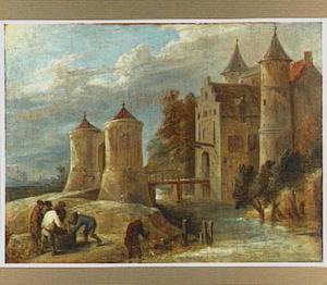 Landschap met vissers bij een kasteel