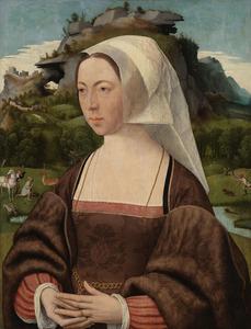 Portret van een vrouw, met in de achtergrond de bekering van de H. Hubertus