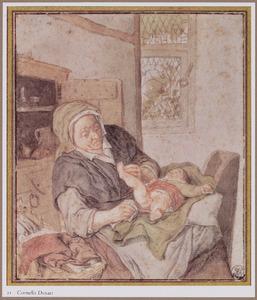 Boerenvrouw die een kind verschoont (allegorie op reuk)