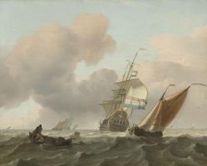 Een Hollandse driemaster op zee, in de voorgrond halen vissers een net binnen vanuit een roeiboot
