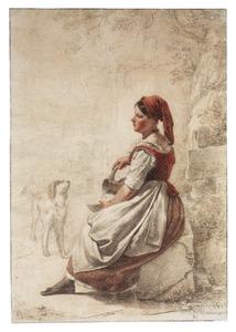Vrouw met schenkkan en kom