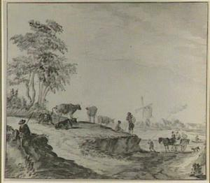 Landschap met figuren en vee, op de achtergrond een dorp met een molen