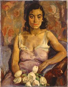 Creoolse vrouw met tulpen